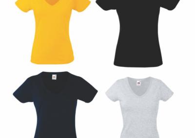 Camiseta cuello v estampada o sublimada personalizada