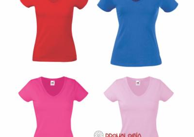 Camiseta cuello v estampada o sublimada personalizada varios colores